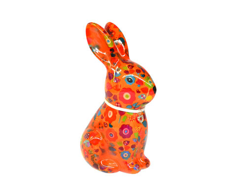 Hase Nina Motiv orange Blumen